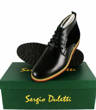 Sergio Duletti Orlando Mens Real Leather Brogues Ankle Lace Up Boots H1212 Black