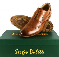 Sergio Duletti Gian Mens Leather Dress Brogue Dress Corrado Shoes Ha13319 Brown