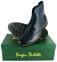 Sergio Duletti Pascal Mens Leather Brogues Ankle Lace Up Boots H21217 Navy Blue