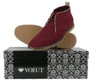 VOEUT Mens Mod Rude Boy Brogue Detail Fashion Heel Desert Boots Slim Burgundy