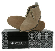VOEUT Mens Mod Rude Boy Brogue Detail Fashion Heel Desert Boots Slim Beige