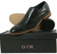 Goor Mens 5 Eyelet Brogue Oxford Lace Up Shoes Heel Leather Lined Black 014A
