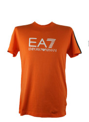 EA7 Emporio Armani Train 7 Lines Large Logo Mens Cotton Stretch T Shirt Orange