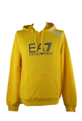 EA7 Emporio Armani Hooded Train 7 Lines Large Logo Mens Cotton Sweatshirt Yellow