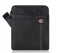 Lacuzzo 100% Real Leather Small Messenger Shoulder Bag 23cm x 25.5cm LMB-3 Black
