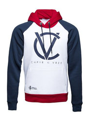 Chptr & Vrse Hoodie Raglan Brand Carrier Pull Over cotton with contrast sleeves