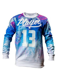 Chptr & Vrse Player Crew Neck Sweat shirt full floral design with 'Player' '13' matte rubber over print.