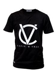 Chptr & Vrse T-Shirt Brand Carrier Crew Neck 100% cotton with CV logo on front chest black