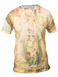 Chptr & Vrse T -shirt Mary Crew Neck Light weight, holy Mary wearing DJ headphones Halo
