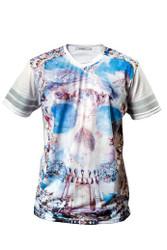 Chptr & Vrse Fresco Skull V Neck T-Shirt. Michelangelo style heaven scene
