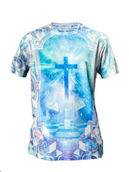 Chptr & Vrse Geometric Rave Crew Neck T-Shirt crucifix in a surreal geometric frame With clear crystal studs.