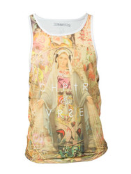 Chptr & Vrse Mary Scoop Neck Vest holy Mary wearing DJ headphones with graffiti dress halo