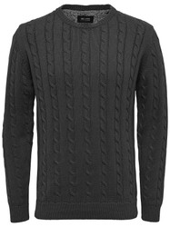 Only & Sons Jumper Gamel Rib Cable Knit Mens Jumper in Grey
