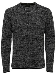 Only & Sons Jumper Gatlin Rib Chain Knit Mens Jumper in Black