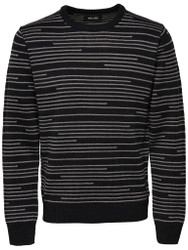 Only & Sons Jumper Griff Striped Dress Mens Jumper in Black with Grey