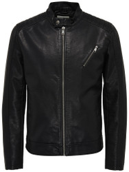 Only & Sons Jacket Black Pleather Soren biker Style Fashion Trendy Jacket