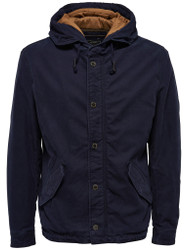 Only & Sons Jacket Hooded padded zipped Style Fashion in Blue with gold lining