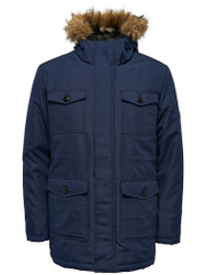 Only & Sons Jacket Skeet Navy Blue Fur Hooded padded zipped Style Trendy Parka Jacke