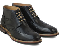Sergio Duletti Black Raul Hi Shine Lace up Leather Boots