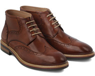 Sergio Duletti Brown Raul Shine Lace up Leather Boots