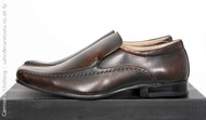 Mens Leather lined Slip on Dress shoe in Dark Brown from Goor
