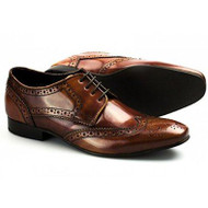 Ikon Ritchie Tan Brown Mens Cow oil Lace up Real leather Dress Brogues Shoes