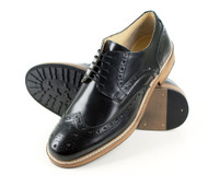 Roamers 5 eyelet Mens wing Capped Gibson Brogues Real Leather Shoes Black