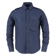 MA.Strum Long Sleeved Dual Pocket Shoulder piece Shirt Dress Blue