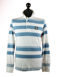 Stone Island Long sleeved polo white WITH BLUE stripes 601523436 v1099