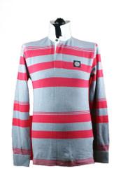 Stone Island Long sleeved polo Grey Red stripes 601523435 v0164
