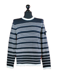 Stone Island Cotton Navy Blue Striped Crew Neck cotton jumper Top 601556204 V0020