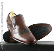 UK 6-  UK 12 Goor Mens Slip on Leather lined Brogues Formal Dress Shoes in Brown