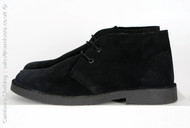 Roamers Suede Leather Round Toe Desert Boots in Jet Black