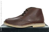 Roamers 3 eyelet Waxy Brown Real Leather Round Toe Desert Boots