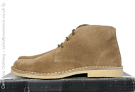 Roamers 3 eyelet Real Suede Leather Round Toe Desert Boots in Sand