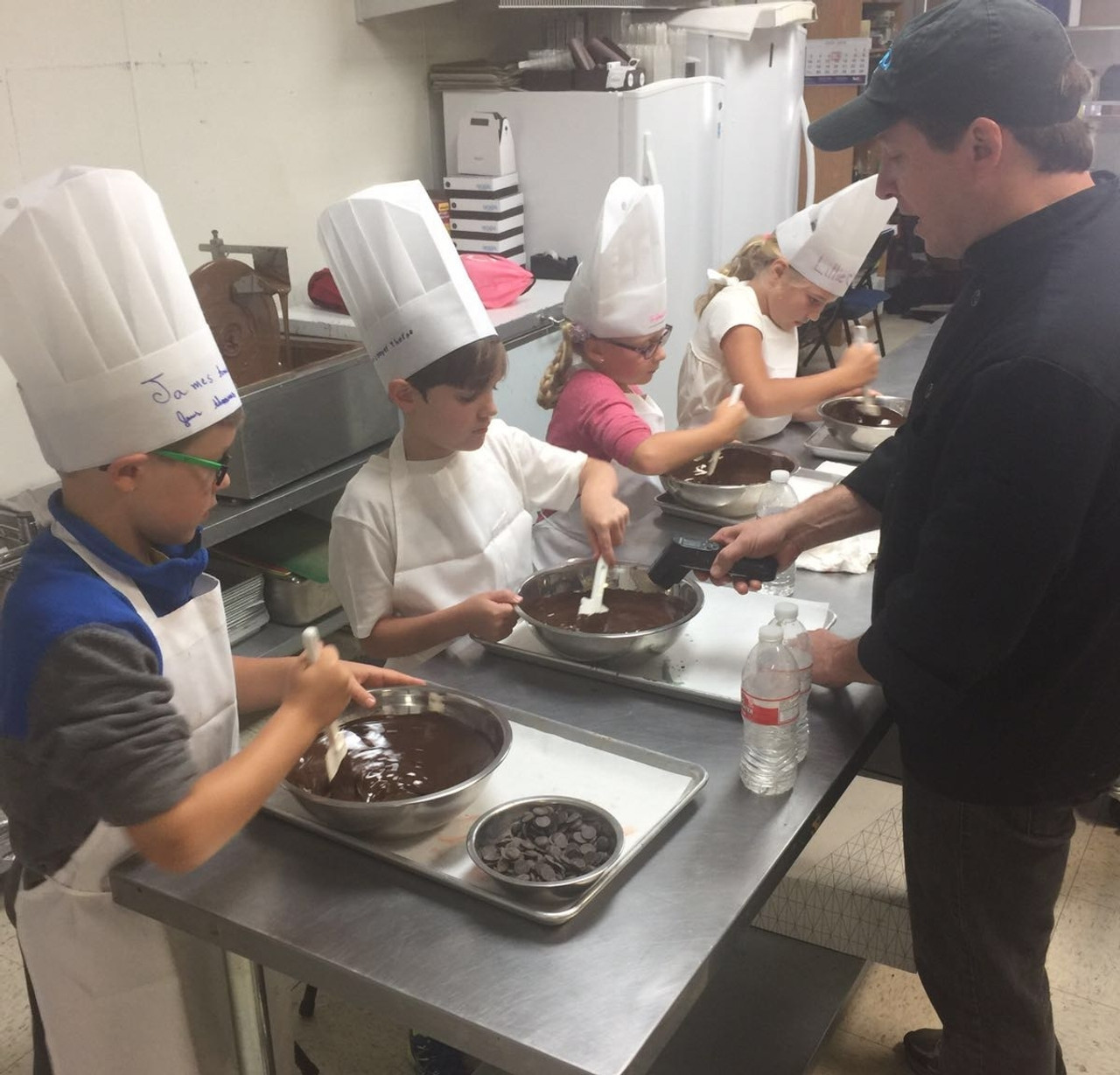 Learning how to tempering chocolate.