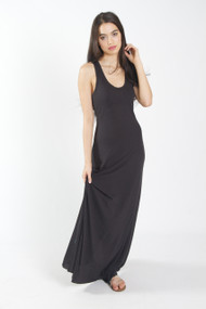Alternative Apparel Racerback Maxi Dress in True Black