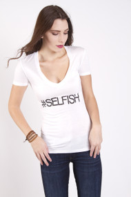 CHRLDR #Selfish Tee in White