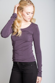 C'est Moi Bamboo Long Sleeve Scoop Neck in Charcoal