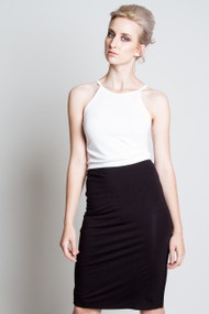 C'est Moi Bamboo High Neck Crop Top in White