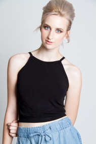 C'est Moi Bamboo High Neck Crop Top in Black