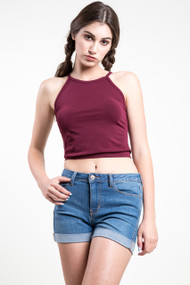 C'est Moi Bamboo High Neck Crop Top in Bordeaux