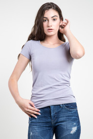 C'est Moi Bamboo SS Scoop Neck Top in Lilac Grey
