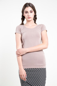 C'est Moi Bamboo SS Scoop Neck Top in Taupe
