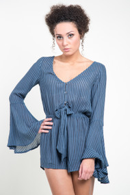 Billabong Sittin Pretty Romper in Blue Stream
