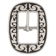 """3/4"""" 4420 Floral Center Bar Buckle SS Black Accents"""