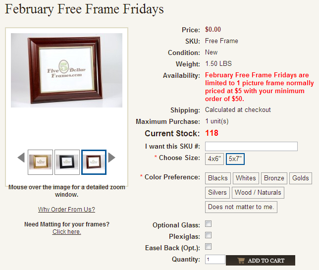 Free Picture Frame Fridays in February.
