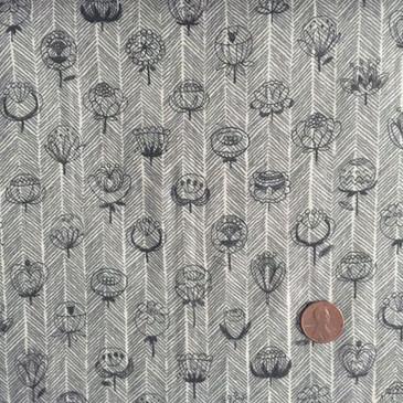 Kokka - Retro Flower on Herringbone - Dark Gray (double gauze)