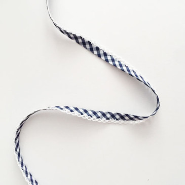 Double Fold Crochet Edge Bias Tape -  Navy Gingham