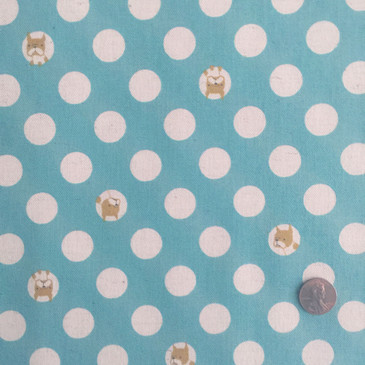 Kokka - Boston Terrier in Polka Dots Aqua (cotton-linen)
